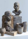 Sindé and Hamalla, sculpture composition, unfired clay, 2020